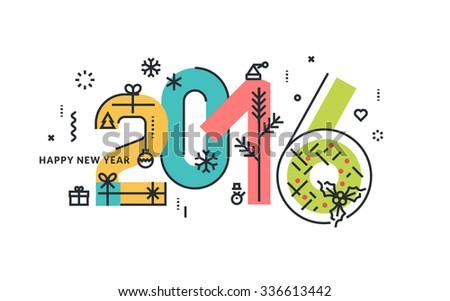 New Year and Christmas flat line design concept for greeting card and banner. - stock vector