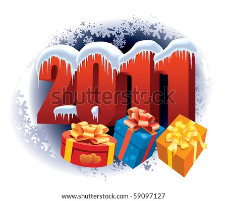 New Year 2011 and Christmas gifts on winter white background
