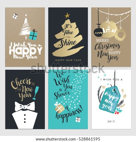New year christmas greeting cards collection stock vector 528861595 new year and christmas greeting cards collection flat design vector illustration concepts for greeting cards m4hsunfo Image collections
