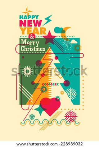 New Year and christmas poster in color. Vector illustration. - stock vector