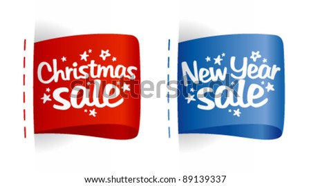 New year and Christmas Sale clothing labels. - stock vector