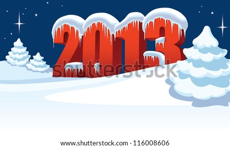 New Year 2013 and Christmas trees on winter white background - stock vector