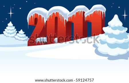 New Year 2011 and Christmas trees on winter white background - stock vector