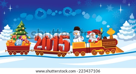 New Year 2015 and Santa Claus in a toy train with gifts, snowman and christmas tree.  - stock vector