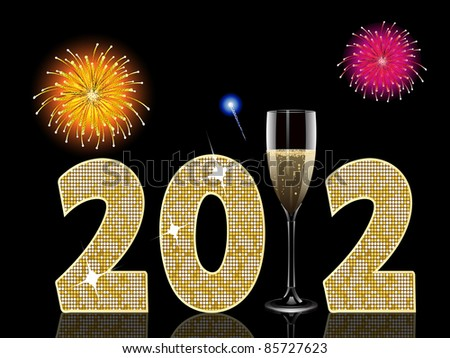 new year background with champagne glass and fireworks - stock vector