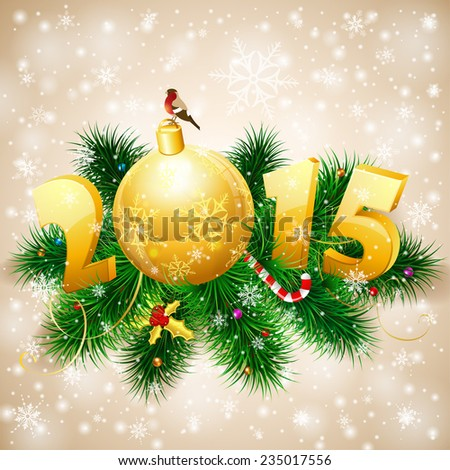New Year Background with Fir Branches, Bauble, Bullfinch and Stylized 2015. Vector Template for Cover, Flyer, Brochure. - stock vector