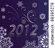 New 2012 year background with snowflake ornament. - stock vector