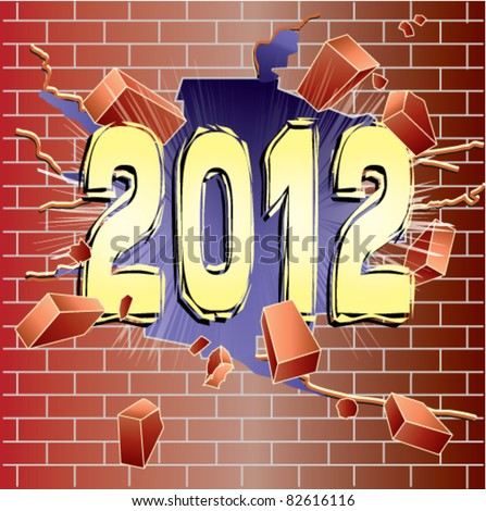 New Year 2012 breaking through red brick wall - stock vector