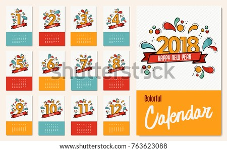 new year 2018 calendar template monthly stock vector. Black Bedroom Furniture Sets. Home Design Ideas