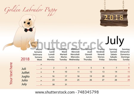 New Year Calendar Symbol Year Dog Stock Vector 748345798 Shutterstock