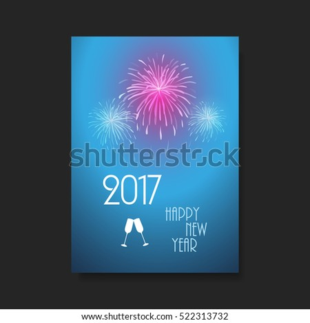 New Year Card Background - Flyer Design with Fireworks - 2017