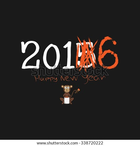 New year card. Funny illustration. Monkey change the number of year with orange paint and brush. 2015 to 2016 - stock vector