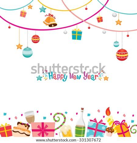 New Year Card, Happy New Year, Merry Christmas, Xmas, Objects, Festive, Celebrations - stock vector