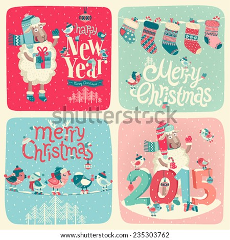 New Year card. Vector illustration. - stock vector