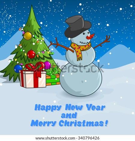 New Year Card. Vector illustration. Snowman stands near christmas tree. Happy new year and Marry Christmas.