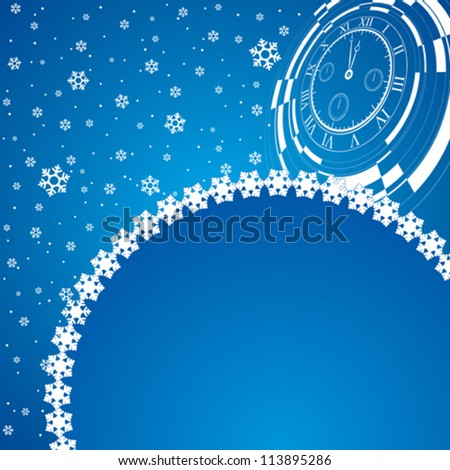 new year card with christmas decor, abstract watch on snowflakes background - stock vector
