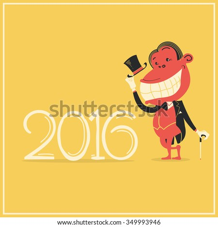 New year card with elegance monkey in gentleman's suit.Vector 2016 background