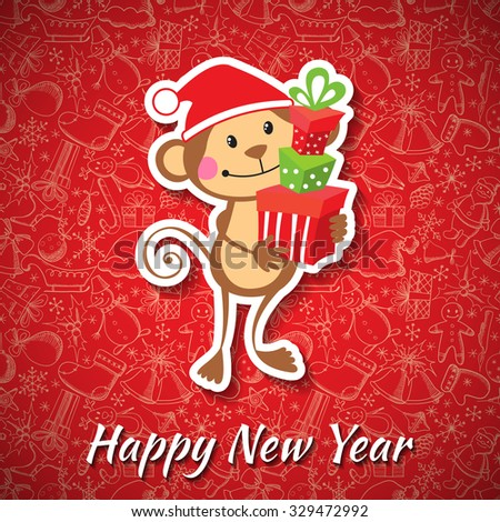 New Year card with funny monkey. Vector illustration - stock vector