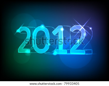 new year 2012  card with neon numbers - stock vector