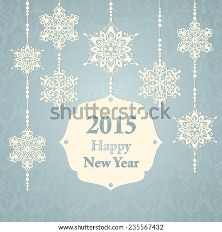 New year card with snowflakes and frame for text - stock vector