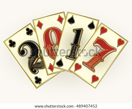 New 2017 year casino poker cards, vector illustration