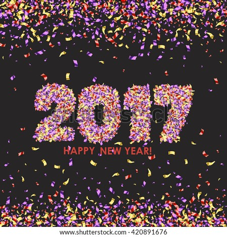 New Year 2017 celebration background. Happy New Year colorful digital type on black background with confetti. Greeting card template. Vector illustration. - stock vector