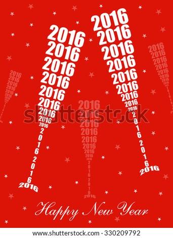 New Year 2016 Celebration - Stylish Wine Glass Toasting Design  - stock vector