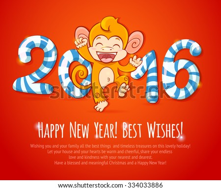 New year chinese celebration card with cute cartoon monkey - the symbol of 2016 year - stock vector