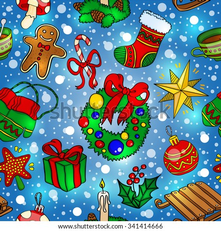 New Year Christmas. Background. Seamless background. Pattern. Vector. Gift, toys, snow.
