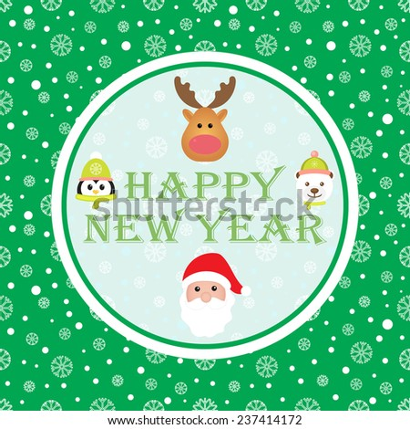 New Year 2015. Christmas card with Santa Claus, White Bear, Penguin and Reindeer. Seamless winter background with snowflakes. Vector image.  - stock vector