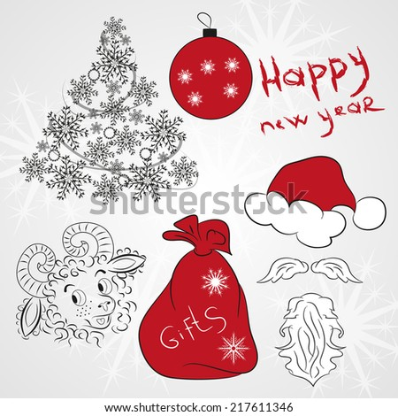 New year, Christmas, collection, 2015, doodle - stock vector