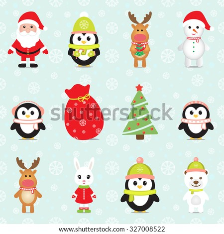 New Year 2016. Christmas elements with Santa Claus, Penguins, White Bear, Rabbit, Reindeers, Snowman, Gift box and Christmas tree. Seamless winter background with snowflakes. Vector image.  - stock vector