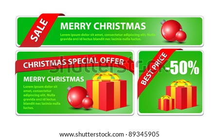 New Year, Christmas offer banner set. - stock vector