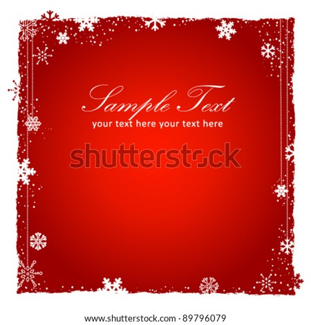 New Year (Christmas) red background with snowflakes border, decorative lace with beads and grunge elements. Vector illustration - stock vector