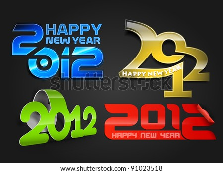 new year 2012 collection - stock vector