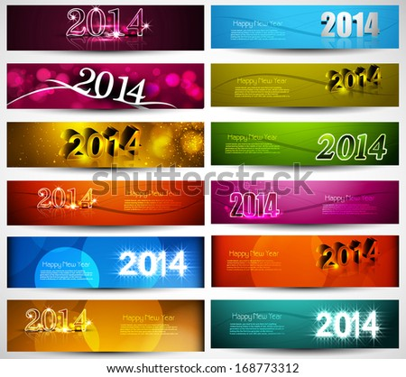 New year 2014 collection for colorful headers and banners set vector - stock vector