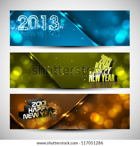 New year colorful header and banner set vector design - stock vector