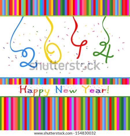 new year 2014 colorful lines - stock vector
