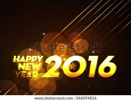 New Year 2016 colourful Background with elemental vector Drawing perfect for New year Party invitation cards. - stock vector