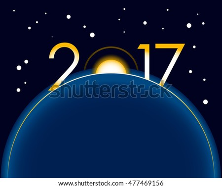 New Year 2017 concept - sunrise with digits. Year number vector clip art.