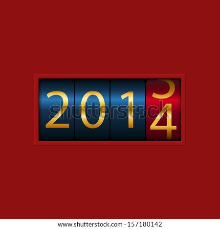 New Year counter, 2013, 2014. Isolated. Vector Illustration - stock vector