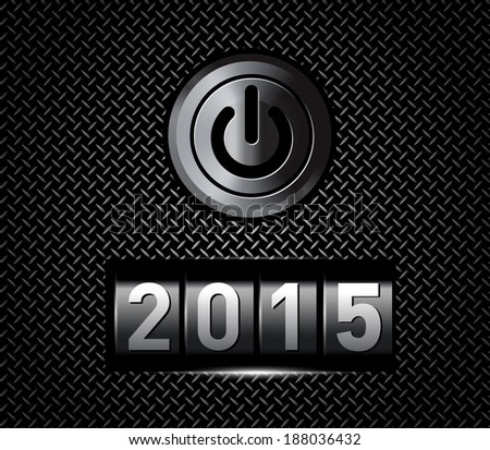 New Year counter 2015 with power button. Vector illustration - stock vector