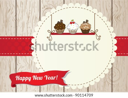 New year cupcake card - stock vector
