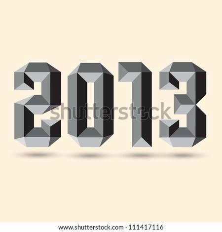 New 2013 year 3D figures. Vector eps10 - stock vector