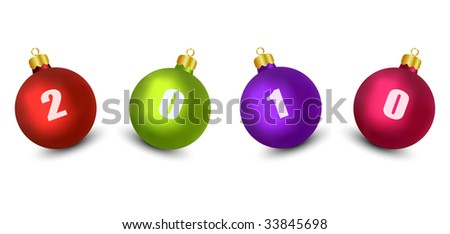 New Year 2010 Decoration  (Vector) - stock vector