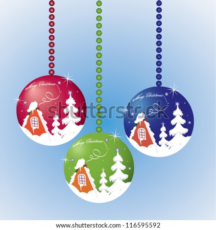 New year decoration, winter themed balls. Vector illustration - stock vector