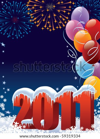 New Year 2011 decoration with copy space for your message