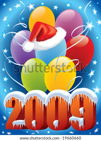 New Year decoration with Santa Claus cap and balloons