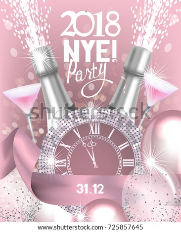 new year eve party invitation card with bottle of champagne glasses watch and air