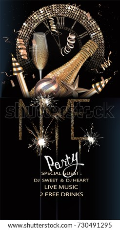 New year eve party invitation card stock vector 730491295 new year eve party invitation card with gold christmas objects and sparkles vector illustration stopboris Images